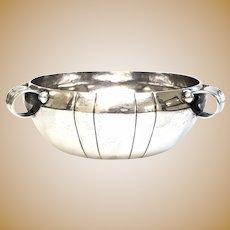 Vintage Mexico William Spratling Hammered Sterling Silver 3 Loop Handle Bowl