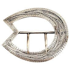 Vintage Sterling Silver Filigree Sash Buckle