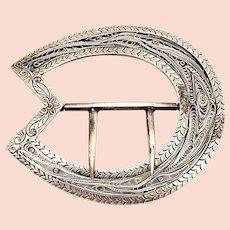 Vintage Sterling Silver Filigree Sash Buckle