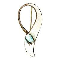 Vintage Aksel Holmsen Gold Vermeil Over Sterling Silver Blue and White Enamel Flower Pin