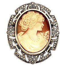 Vintage Sterling Silver and Marcasite Cameo Pin/Pendant