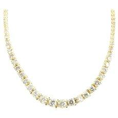 Vintage 14 Karat Yellow Gold Diamond Necklace 7.5 ct twt.