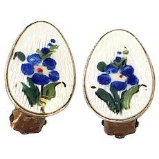 Vintage Ivar T Holth Gold Wash Over Sterling Silver White Enamel Blue Flower Clip-On Earrings