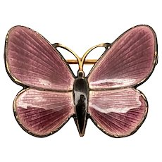 Vintage Finn Jensen Gold Vermeil over Sterling Silver Purple and Black Enamel Butterfly Pin