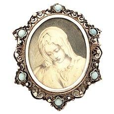 Victorian Portrait 800 Silver Pin/Brooch/Pendant