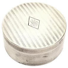 Antique William B Kerr Sterling Silver Round Pill Box with Monogram