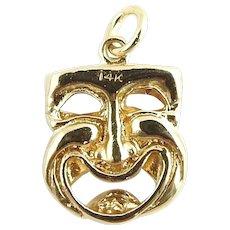 Vintage 14 Karat Yellow Gold Comedy/Tragedy Mask Charm