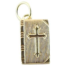 Vintage 14 Karat Yellow Gold Bible Charm
