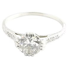 Antique Art Deco Platinum Diamond Engagement Ring, Size 6