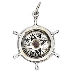 Vintage His Lordship Products Sterling Silver Working Compass Ship's Wheel Charm