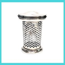 Antique Meriden Brittania Co Reticulated Sterling Silver Jar, No Insert
