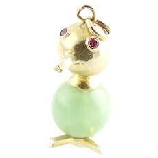 Vintage 14K Yellow Gold and Jade Duck Charm / Pendant