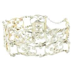 Delicate Victorian Antique Design Platinum 18K Rose Gold Diamond Bracelet Floral Motif