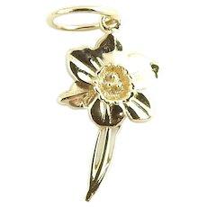 Vintage 14 Karat Yellow Gold Daffodil Charm