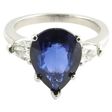 Vintage 14 Karat White Gold Genuine Sapphire and Diamond Ring Size 4.75