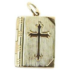 Vintage 14 Karat Yellow Gold Bible Lord's Prayer Charm