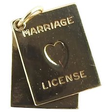 Vintage 14 Karat Yellow Gold Marriage License Charm