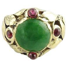 Vintage 14 Karat Yellow Gold Jade and Ruby Ring SIze 4