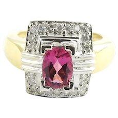 GAI Certified Vintage 18 Karat Yellow and White Gold Pink Tourmaline and Diamond Ring Size 6.25