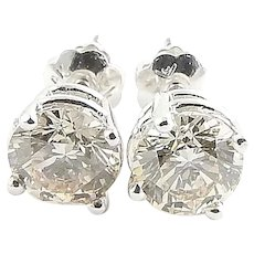 Vintage 14 Karat White Gold Champagne Diamond Stud Earrings 1.43 TCW