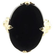 Vintage 10 Karat Yellow Gold and Black Onyx Ring Size 5.75
