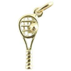 Vintage 14 Karat Yellow Gold Tennis Racket Charm