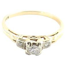 Vintage 14 Karat Yellow Gold and Diamond Engagement Ring Size 5.5