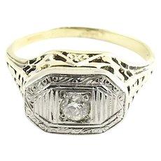 Vintage 14 Karat Yellow and White Gold Diamond Ring Size 5