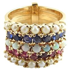 Vintage 14 Karat Yellow Gold Ruby, Sapphire and Seed Pearl Multiband Ring Size 4.5