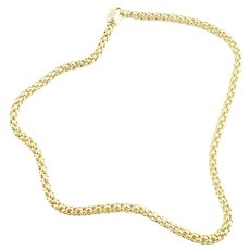 """FOPE 18K Yellow Gold 14"""" Choker Necklace Chain Lobster Claw Clasp"""