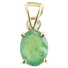 Vintage 14 Karat Yellow Gold Emerald Pendant