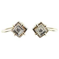 Vintage 14 Karat Yellow and White Gold Diamond Earrings