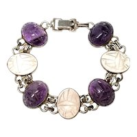 Vintage Sterling Silver WE Richards Purple and Clear Scarab Link Bracelet