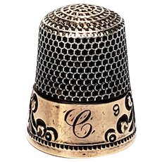 Antique Sterling Silver Ketcham &McDougal Sterling Silver and Gold Thimble, Size 9 with Initial