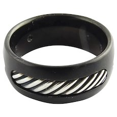 David Yurman Black Titanium Sterling Silver Cable Band Size 10 / 9mm