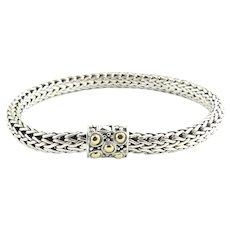 "John Hardy Sterling Silver 18K Yellow Gold Dots Braided Bracelet 6.5"" 6mm"