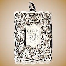 Antique English Sterling Silver Colen Chesire Vinaigrette Box With Monogram