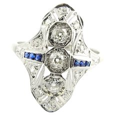 Vintage Platinum Filigree Diamond and Sapphire Ring Size 9.25