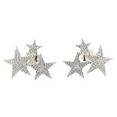 Vintage 14 Karat White Gold Diamond Star Earrings