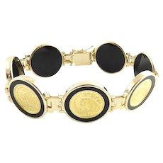 Vintage 14 Karat Yellow Gold and Onyx Panda Coin Bracelet