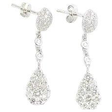 Vintage 18 Karat White Gold and Diamond Dangle Earrings