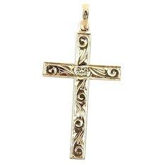 Vintage 14 Karat Yellow Gold Cross Pendant