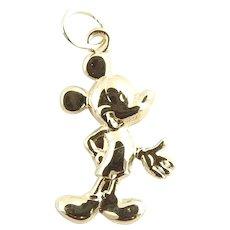 Vintage 14 Karat Yellow Gold Mickey Mouse Charm
