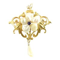 Vintage 10 Karat Yellow Gold Freshwater Pearl and Sapphire Pendant/Brooch