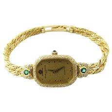 Vintage Baume & Mercier 18K Yellow Gold Emerald Diamond Ladies Watch Quartz