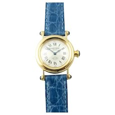 Cartier Diabolo 18K Yellow Gold 150 Anniversary Ladies Watch 14400 Blue Band