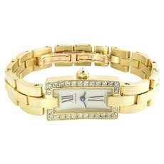 Cartier 18K Yellow Gold Diamond Ballerine Ladies Tank Watch 2992 Silver Dial