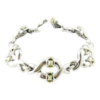 Lagos Caviar Sterling Silver 18K Yellow Gold Link Bracelet 7.5""