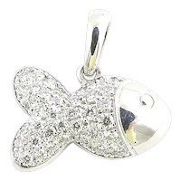Chopard 18K White Gold and Pave Diamond Happy Fish Pendant .45ct
