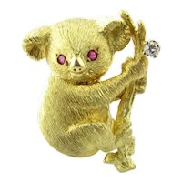 Black Starr & Frost 18K Yellow Gold Diamond Ruby Koala Bear Brooch